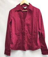 Coldwater Creek Womens Size Medium Top Red Button Down Long Sleeve