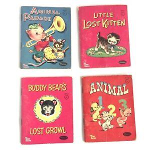 4 Vintage Whitman Tiny Tales Books ~ ANIMAL 123 PARADE KITTEN BUDDY BEAR 1959