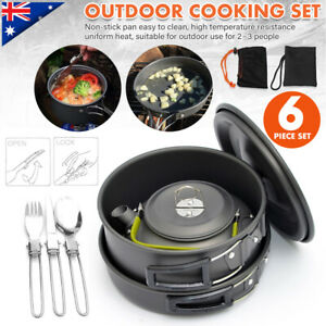 6Pcs Outdoor Portable Picnic Camping Cooking Stove Burner Pots Bowl Cookware Set