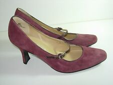 WOMENS PURPLE PLUM SUEDE PUMPS MARY JANES COMFORT CAREER HEELS SHOES SIZE 6.5 M