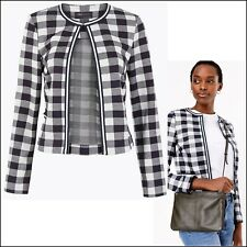 Marks & Spencer Blue White Size 22 Jersey Gingham Edge To Blazer Coat Jacket