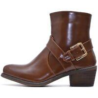 Damen Ankle Boots Stiefeletten mit Blockabsatz mit Reißverschluss Braun Schwarz