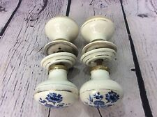 2 PAIRS OF ANTIQUE BLUE & WHITE CERAMIC DOOR KNOBS, FREE UK DELIVERY