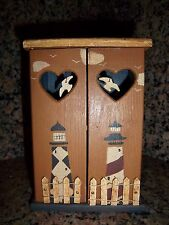 Cabinet Mini Wardrobe Wooden Furniture Decorated Nautical Lighthouse Dollhouse