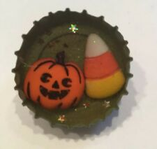 Vintage Halloween Pumpkin & Candy Corn PIN Bottle Cap Pin