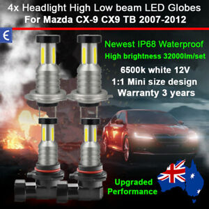 4x 360° Headlight Globes For Mazda CX-9 TB Series 2008 2009 High Low Beam Bulbs