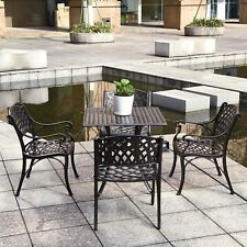5-Piece Outdoor Dining Set Cast Aluminum Patio Furniture Table Arm Chairs Bronze