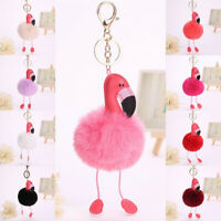 Key Chain Clasp Key Ring Keyring Handbag Car Decoration Plush Flamingo Pendant
