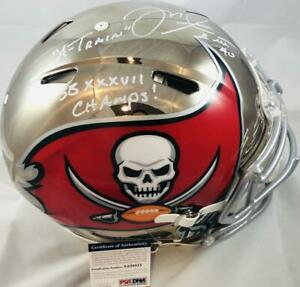 Mike Alstott signed chrome speed AUTHENTIC full size Buccaneers helmet PSA 8A015