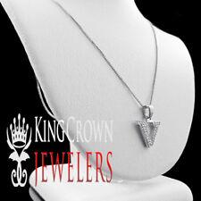 10K White Gold Genuine Diamond Initial Letter Alphabet V Mini Pendant + Chain