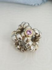 Authentic Pandora Two Tone Charm Silver Gold Pink Sapphire 790410PSA - Retired