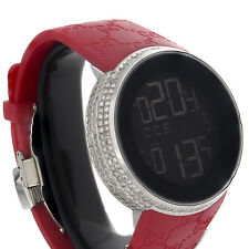 Gucci Diamond Watch Ya114212 Custom Full Case Digital Red I-Gucci Band 4 CT.