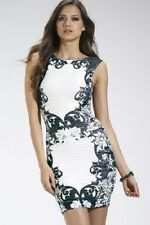 Lipsy Printed Ripple Black White Bodycon Dress