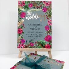 GOLD FOIL EMERALD GREEN TROPICAL wedding invitation package with envelopes