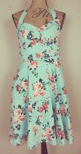 Hot Topic Retro Party Dress Pinup Rockabilly Blue Peach Floral Halter Size XL