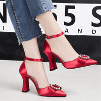 Womens Rhinestone Bows Block High Heels Ankle Strap Pointed Toe Fashion Shoes
