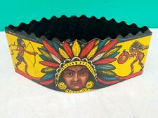 Beistle & Co Die Cut Indian Chief Honeycomb Halloween Party Hat vintage 1940s