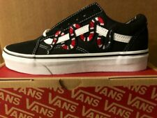 Vans Old Skool Classic Shoe Snake Embroidered Suede Canvas Custom NEW