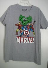 """Avengers Heroes Poster Official Marvel Comics Grey Men""""s T-shirt *Size Large"""