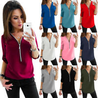 UK Womens Zip V neck Casual Ladies Shirt Blouse Long Sleeve Chiffon Tee Tops