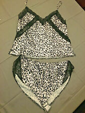 Nwt Victoria's Secret luxe satin print cami set, size medium, color black/white