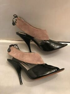 FAB! Moschino Black Patent Leather Open Toe High Heel Shoes Size 39EUR-8US Italy