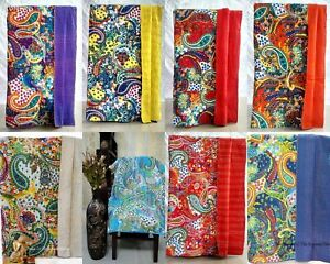 Twin Size Handmade Cotton Paisley Kantha Work Indian Cotton Blanket Throw Quilt