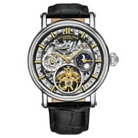 Stuhrling 4000 2 Legacy Automatic Dual Time Skeleton AM/PM Leather Mens Watch