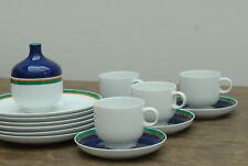 Rosenthal plus Kaffeegeschirr, 6 Teller, 4 Tassen usw, weiß blau grün orange