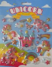 ADESIVI Carini Unicorno 3D-BIGLIETTI E ARTIGIANATO Arcobaleni, Farfalle, Stelle NUOVO con confezione