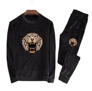 Men TrackSuit Sport Velvet Jacket Top Sweater Suit Pants Trousers Velours Tiger