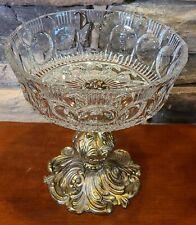Antique GIM Crystal Pedestal Bowl Large Cut Glass Vintage Gorgeous Fruit Display