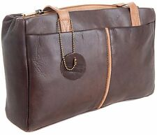 Gigi Othello Soft Leather Dark Brown / Honey Shoulder 3 Section Handbag 5655
