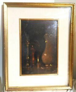 Peinture Nature Morte Huile sur Toile Signé Roberto Wachsmalstifte 1969 60x50 CM