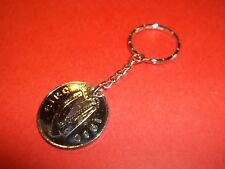 IRISH LEAPING SALMON 10 PENCE COIN KEY RING / CHAIN - 1980 - 38th BIRTHDAY