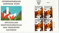 UNITED NATIONS 1981 YEAR OF DISABLED PEOPLE PLATE BLK FIRST DAY COVER VIENNA SHS
