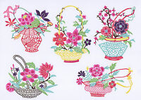 Chinese Paper Cuts Flower in Basket Set Colorful 10 Small Pieces Chen