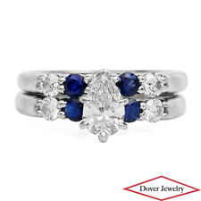 GIA 1.57ct Blue Nile Diamond Sapphire 18K Gold Engagement Band Ring NR $6900.00