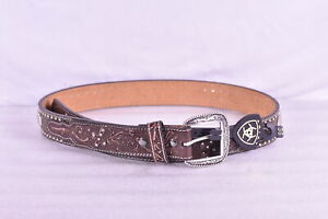 Men's Ariat Tooled Cross Stud Western Leather Belt with Buckle