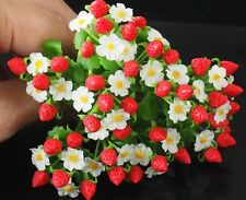 10 Pcs Miniature Handmade Strawberry Plants Clay Flowers Home Decorative