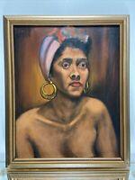 VTG. Original Black Americana Folk Art Naive Painting 50's Woman Dreaming Signed