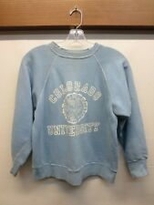 Vtg 1960s Blue Velva Sheen CU University of Colorado Sweatshirt USA Made Sz S