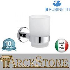 Porta spazzolino in vetro acidato supporti ottone cromato IB Rubinetti Moderna