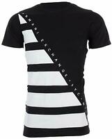 Armani Exchange DIAGONAL STRIPE Mens Designer T-SHIRT Premium BLACK Slim Fit $45