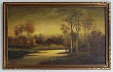 Hudson Valley Pastel Tonalist Landscape Sunset Painting, Signed, Circa 1920
