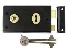 Black Rim Sash Lock Double Handed 140x76mm Door Latch Shed Garden + 2 keys