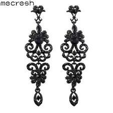Mecresh Silver Black Crystal Chandelier Earring Women Costume Jewellery MEH948