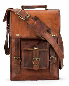 "9"" Vintage Genuine Goat Leather Brown Messenger Satchel Briefcase Laptop Bag New"