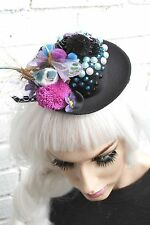 MINI TOP HAT BLACK LITTLE BIRD GOTHIC LOLITA GOTH EMO INDIE GRUNGE HALLOWEEN