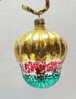"Vintage Mercury Blown Glass Christmas Tree Ornament Acorn Nut Decoration Gold 3"""